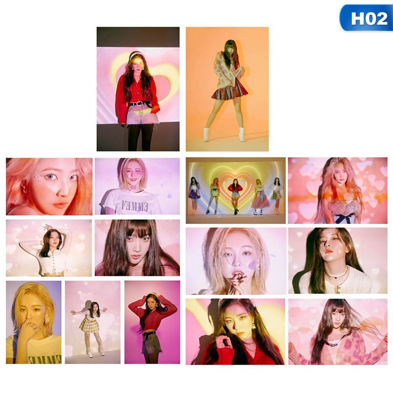 19/15 unids/set de moda Kpop terciopelo rojo sesión fotográfica HD imagen el ReVe Festival día álbum RedVelvet Kpop rojo terciopelo foto tarjeta