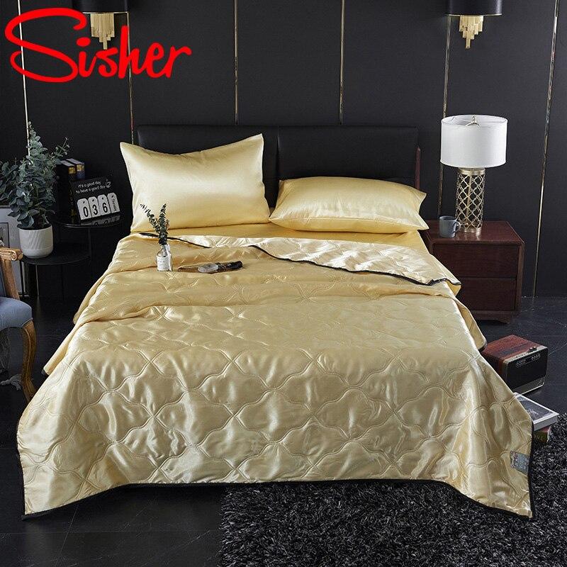 Colchas finas de seda de hielo con funda de almohada y sábana de cama manta fresca para el verano colcha de Color sólido transpirable
