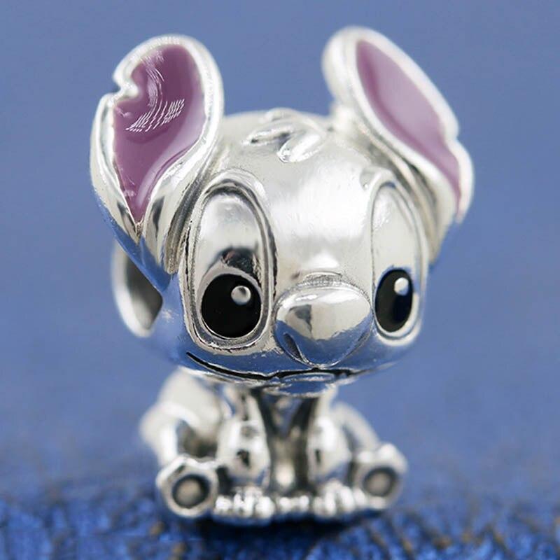 Cuentas de Lilo y Stitch de esmalte púrpura Original para pulsera Pandora con abalorio de plata de ley 925, joyería Diy
