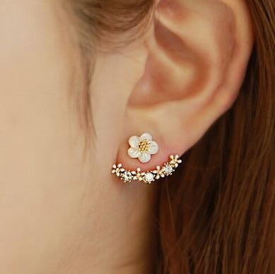 South Korea Needle Earrings Little Daisy Flower Back-hanging Ear Stud Top Grade Anti-Allergy Fine Silver Accessories