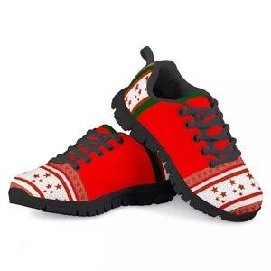 HYCOOL Christmas Stars Pattern Boys Girls Sneakers Flat Outdoor Walking Sports Running Mesh Shoes Winter Casual Footwear Hot