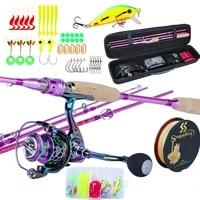 2 1m fishing combo set spinning fishing reel and spinning rods fishing line lure bag hooks float full set