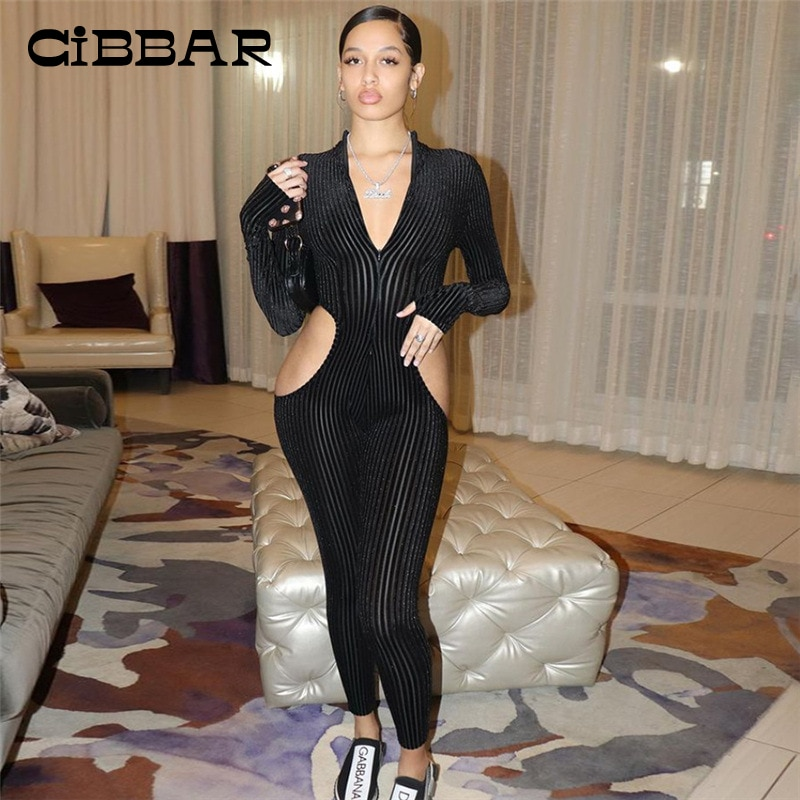 CiBBAR Knitted Skinny Jumpsuit Women Sexy V Neck Body-Shaping Elegant Streetwear Overalls Solid Long