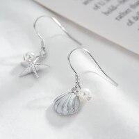 asymmetry silver color ocean starfish shell drop earrings animal pearl earrings for women girl jewelry gift