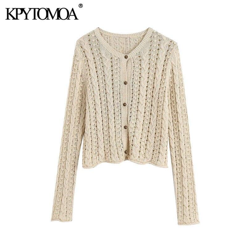 Kpytomoa 2020 moda oco para fora cortada malha cardigan camisola vintage v pescoço manga longa feminino outerwear chic topos