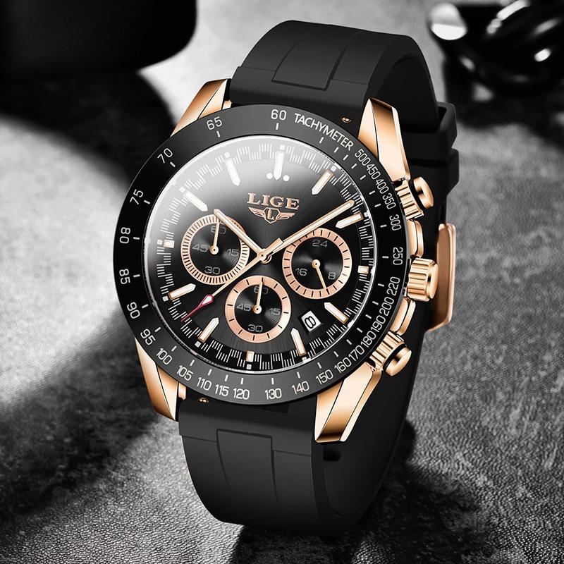 LIGE الرجال الساعات الرياضية سيليكون حزام ساعة للرجال العلامة التجارية الفاخرة مقاوم للماء الرجال كوارتز ساعة اليد Relogio Masculino + صندوق