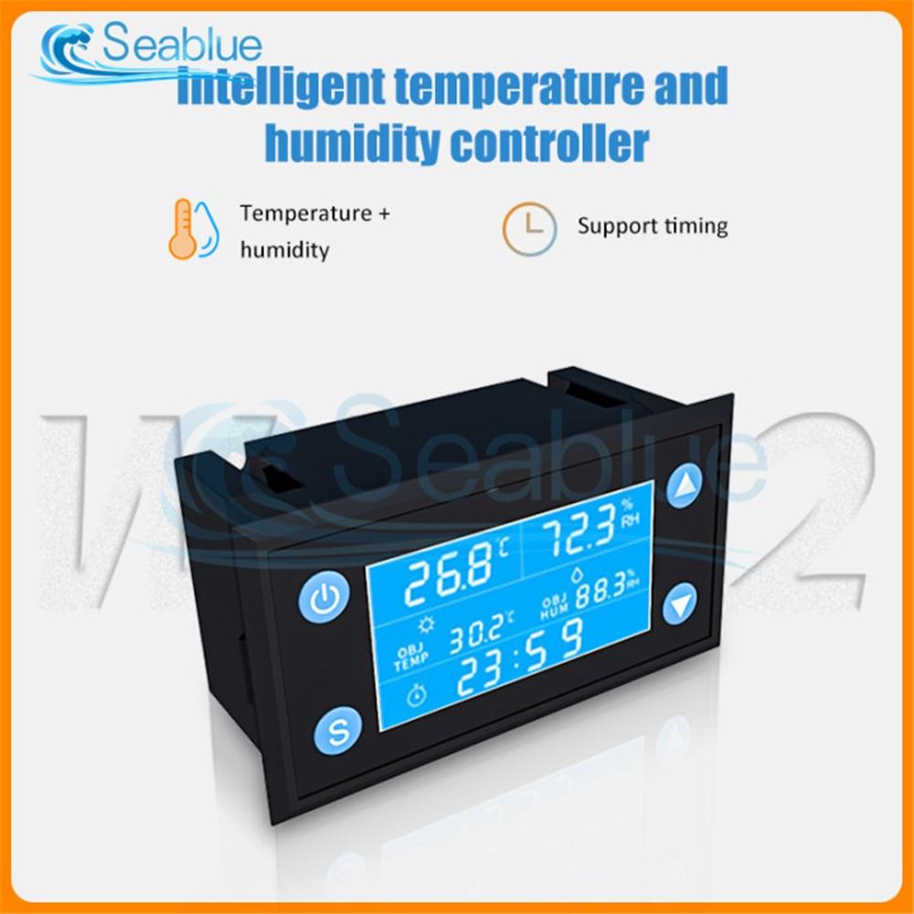 W1212 AC 110V-220V LCD Digital Temperature Humidity Controller Timer SHT20 Sensor Probe For Incubator Aquarium Thermostat
