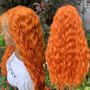 Ginger Orange 180% Density 26 Inch Long Kinky Curly Synthetic Wigs Lace Front Wig For Black Women Daily Cosplay Heat Resistant