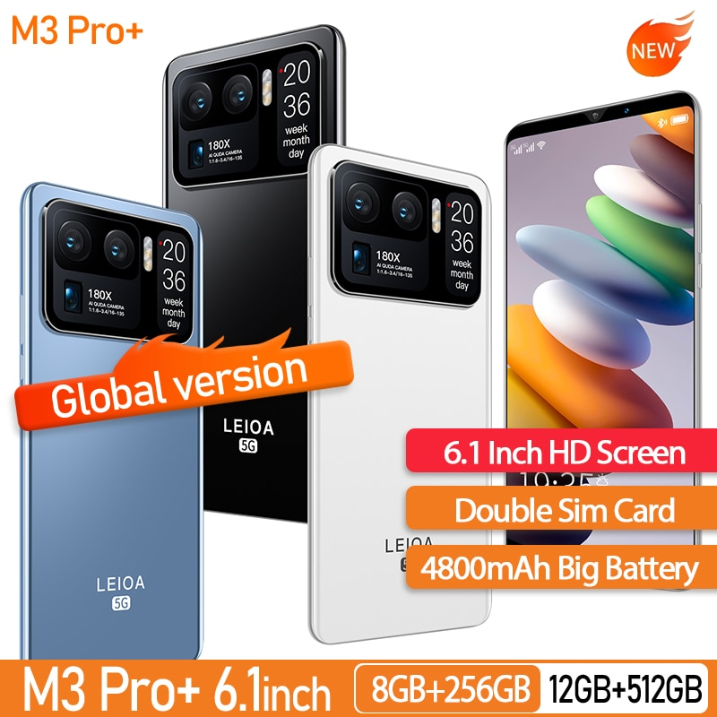 Global Version M3 Pro+ 6.1 Inch Smartphone 8+128GB 24+48MP 10core Android 10 Unlocked 5G Mobilephone Support Google GPS