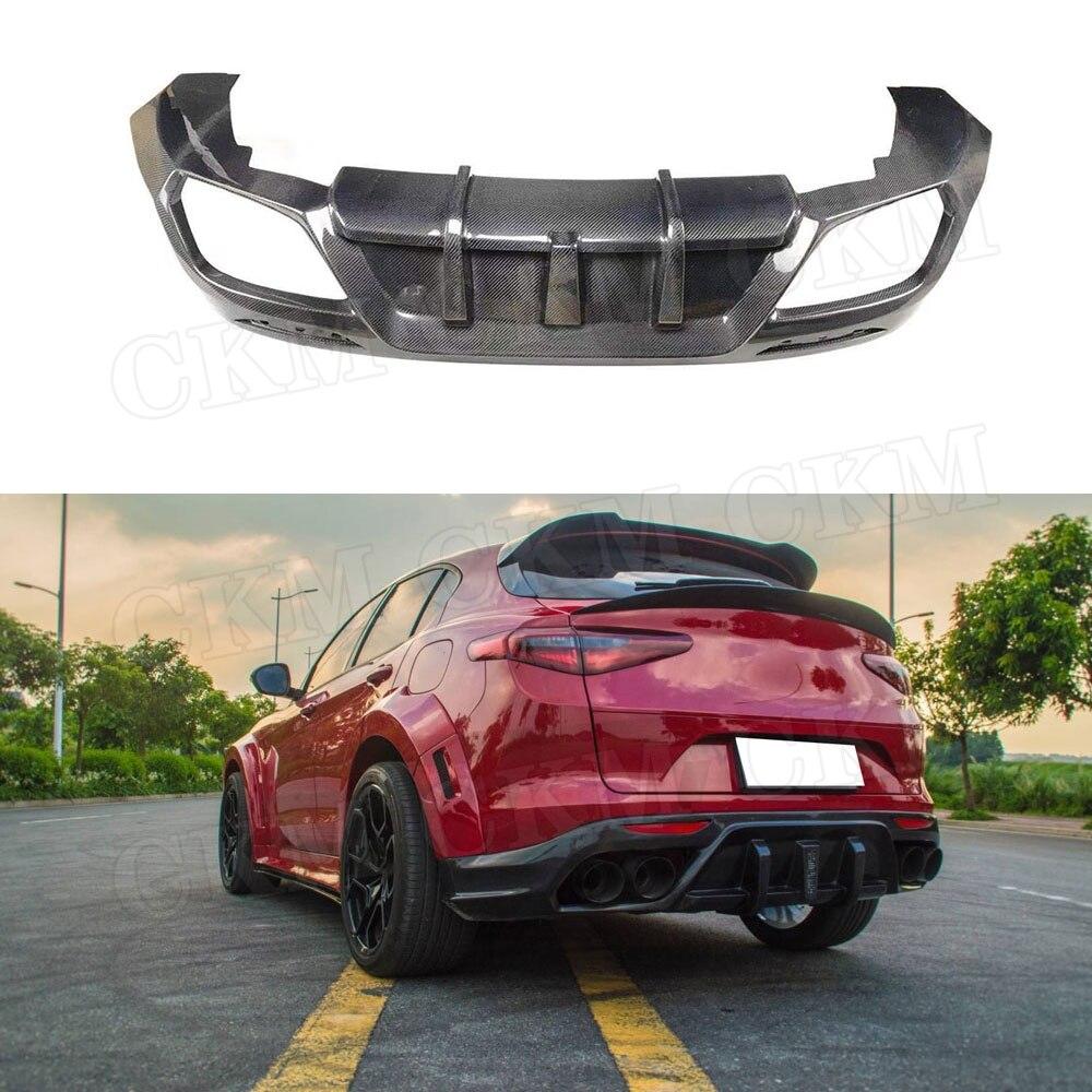 Carbon fiber / FRP Rear Lip Diffuser Spoiler For Alfa Romeo Stelvio 2017 2018 2019 FRP Car Bumper Guard Car Styling