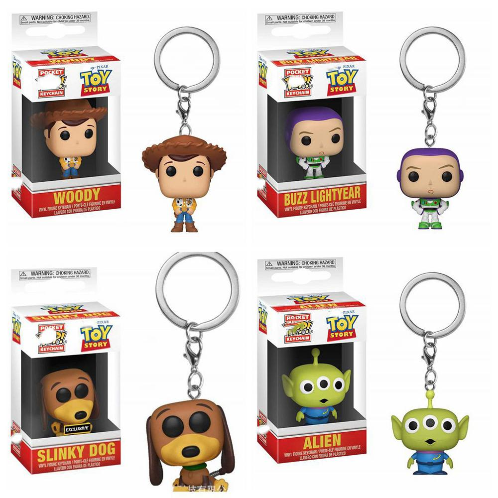 Toy Story 4 Slinky Llavero perro Woody Chivalrous Buzz año ligero Alien llaveros con caja figuras de acción de juguete para niños