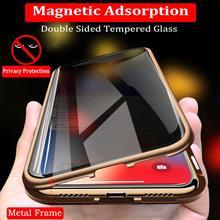 Confidentialité magnétique étui pour iphone 11 Pro Max X XS XR 6S 6 7 8 Plus aimant métal Double face verre trempé couverture 360 Funda Cases