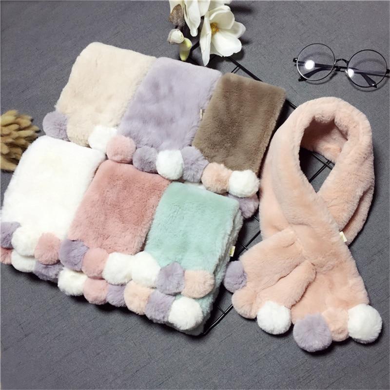 Winter Cute Children Scarf Boy Girls Scarves Baby Imitation Rabbit Fur Collar Scarf with Pompom Neck Warmers Christmas Gift