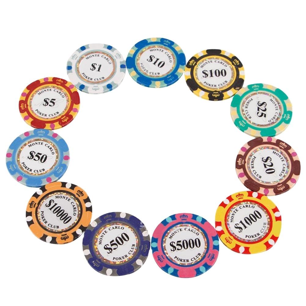Развлечения монеты Монте монеты 100 шт./компл. Золотая глина покерные чипсы казино монеты 14 грамм глина монеты покерные чипсы