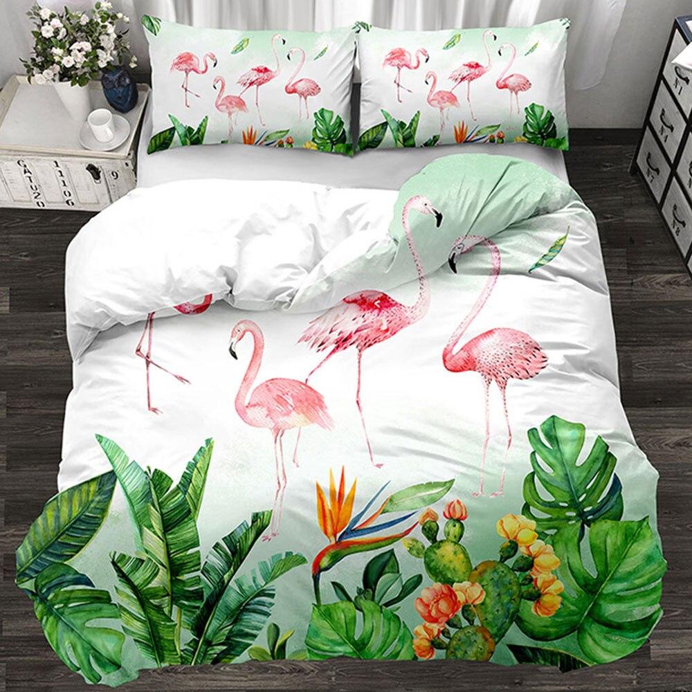 Juego de cama de lujo flamenco rojo 3/4 Uds. Juego de sábanas de la familia funda de edredón funda de almohada habitación de los niños hoja plana verde ropa de cama 3 uds