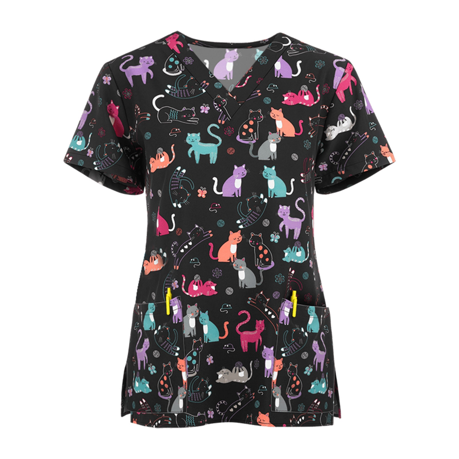 Nurse Uniform Workwear T Shirt V-neck Cartoon Printing Short  Sleeve Tops Pocket Shirt Breathable Pharmacy Nursing Uniform pharmacy