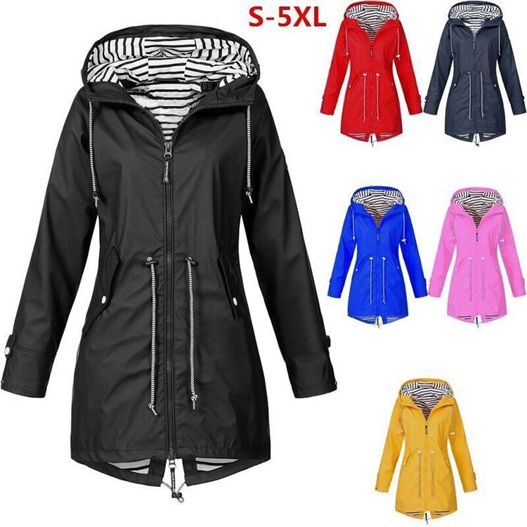 Frauen Jacke Mode Herbst Solide Regen Jacke Outdoor Plus Wasserdicht Mit Kapuze Regenmantel Winddicht Mäntel Jacken Windjacken