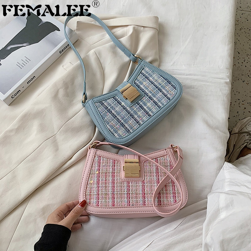 Vintage küçük ekose Glitter Sequins koltukaltı çanta kadın klasik tüvit toka omuz Tote çanta kadın baget koltukaltı çanta çanta