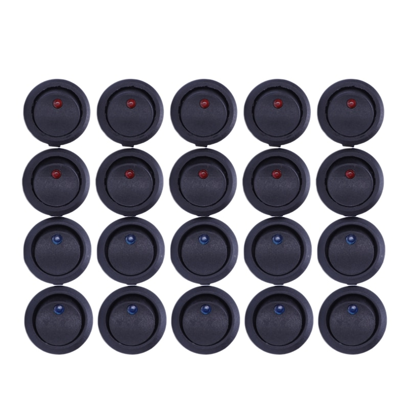 ¡Promoción! 20 Uds. 12V 20A amperios On/Off/3 posición Terminal redondo basculante LED interruptor de palanca azul y rojo