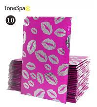TONESPAC 190*260mm 10pcs Lips Kiss Poly Bubble Mailer Padded Shipping Envelopes Bag Self Seal Waterproof Packaging Hot pink