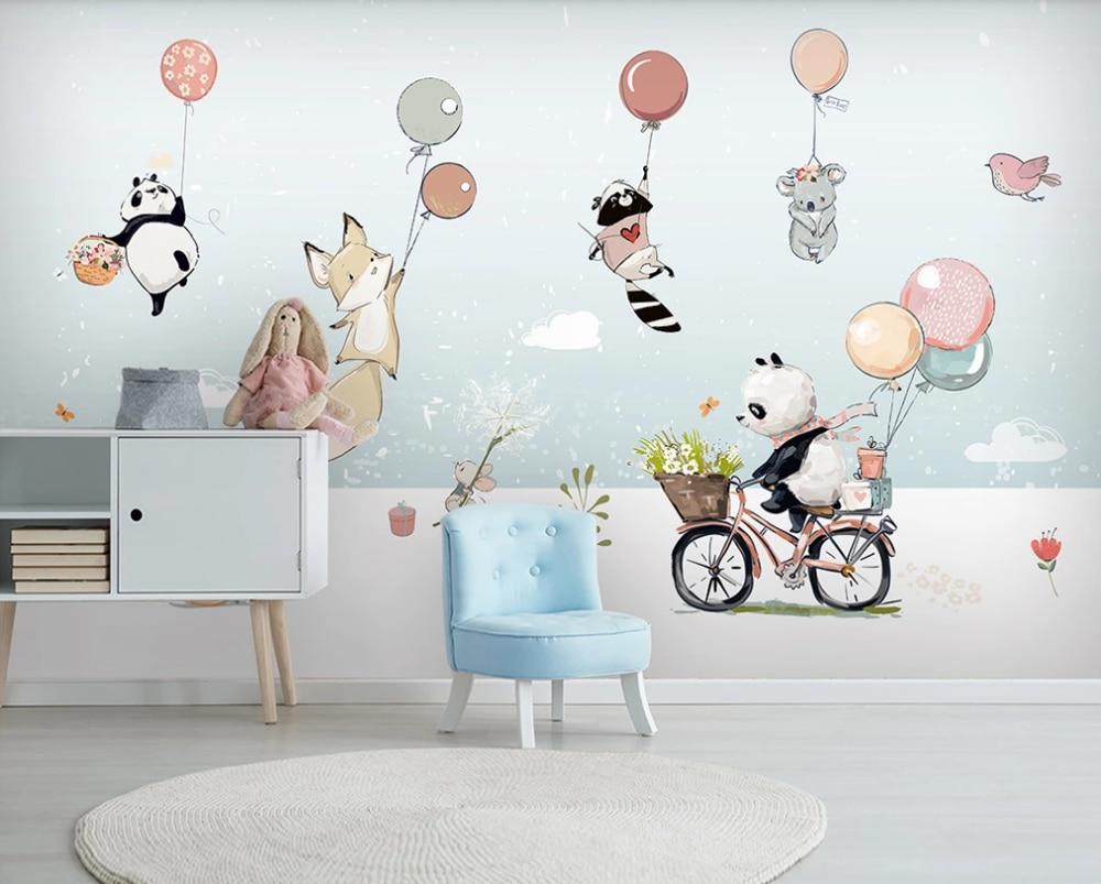 Custom wallpaper cute cartoon animal hot air balloon childrens room background wall painting-waterproof material