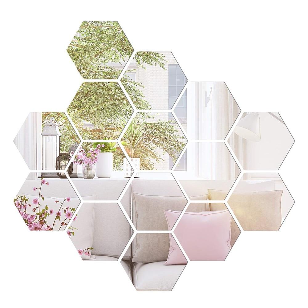 12 шт., шестигранные Акриловые 3D зеркальные настенные наклейки, сделай сам, художественный декор, наклейки для дома, съемные наклейки для ван...
