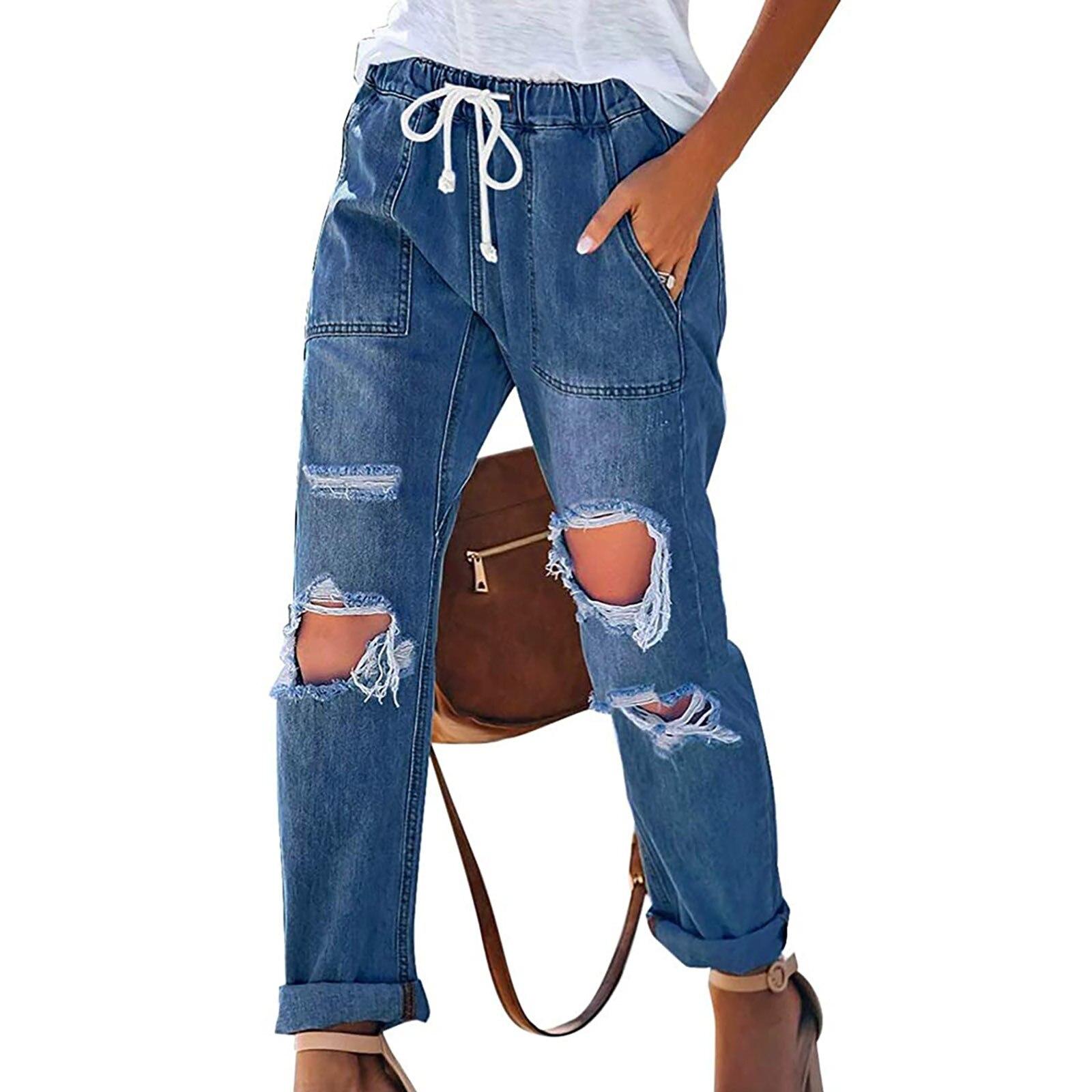 Женские джинсы Chicros, мешковатые джинсы, женские джинсы, Выбеленные рваные джинсы средней длины, женские джинсы