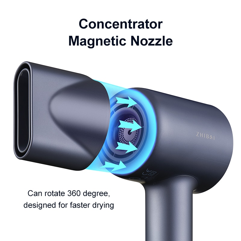 ZHIBAI Professional High Speed Hair Dryer For Hair Thermostatic Strong Wind Blow Dryer Travel Dryer Portable Hairdry EU Pulg enlarge