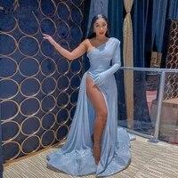 glitter sequin sky blue mermaid evening dresses 2021 one shoulder side high slit sexy long sleeve evening party dress