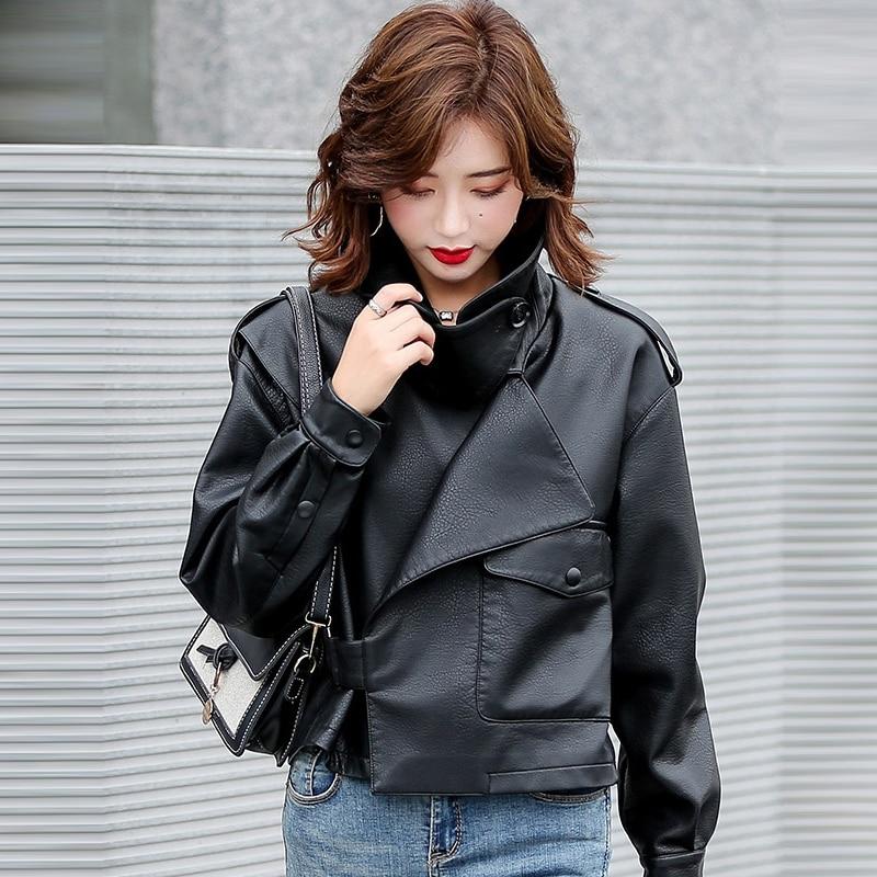 2020 Spring Autumn PU Faux Leather Jacket Women Khaki Black Zipper Short Motorcycle Biker Jackets Coat Female Loose Punk Outwear enlarge