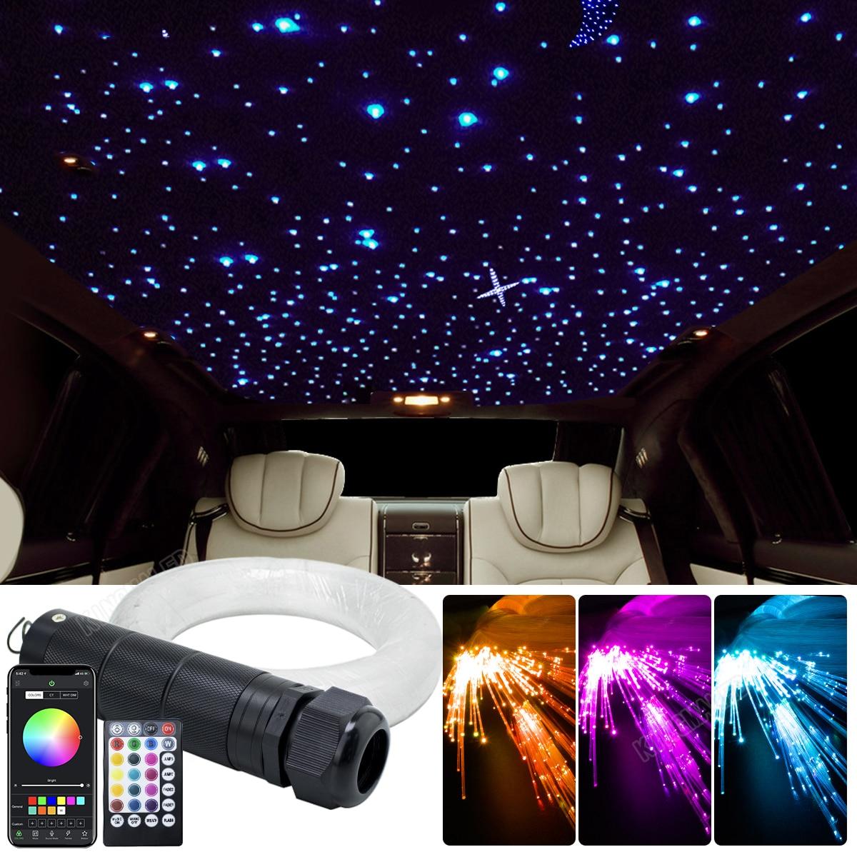 DC12V 6W RGB  Car Roof Star Lights LED Fiber Optic star ceiling Light kits  2M 0.75mm 100~460pcs Optical fiber with RF control