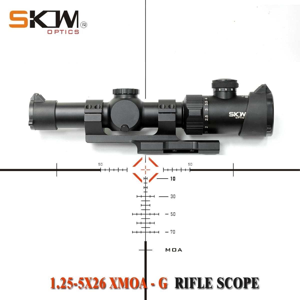 SKWoptics 1.25-5x26 XMOA-G Tactical riflescopes Hunting AK AR M4 sight compact rifle scope MOA reticle  new 30 scope rings