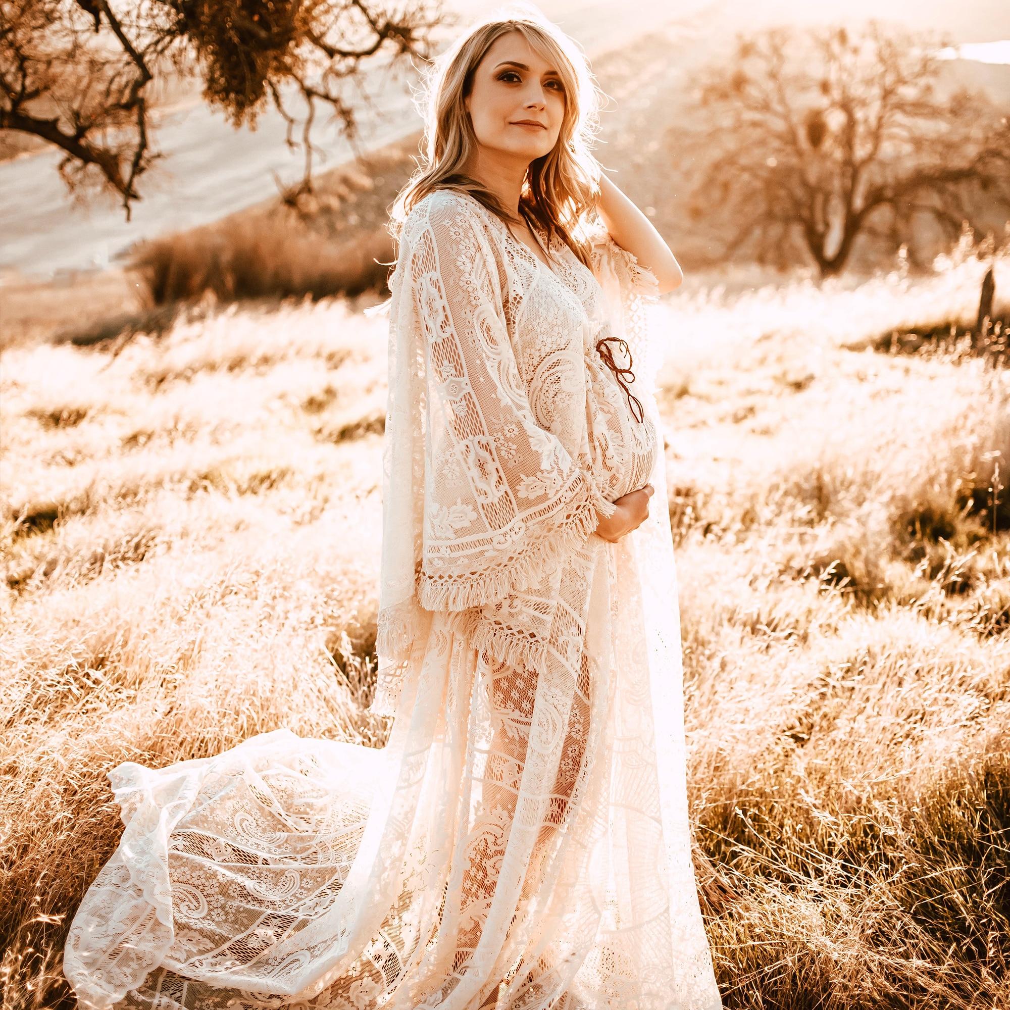 Don&Judy Maternity or Non-Maternity Dress Bohemia Boho Bell Sleeves Lace Kaftan Party Evening Dresses Photography Photo Shoot enlarge