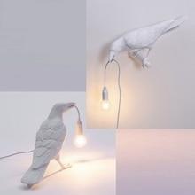 Vintage cuisine lampe moderne résine oiseau appliques intérieur oiseaux appliques murales lampe salon blanc animaux appliques murales pour la maison