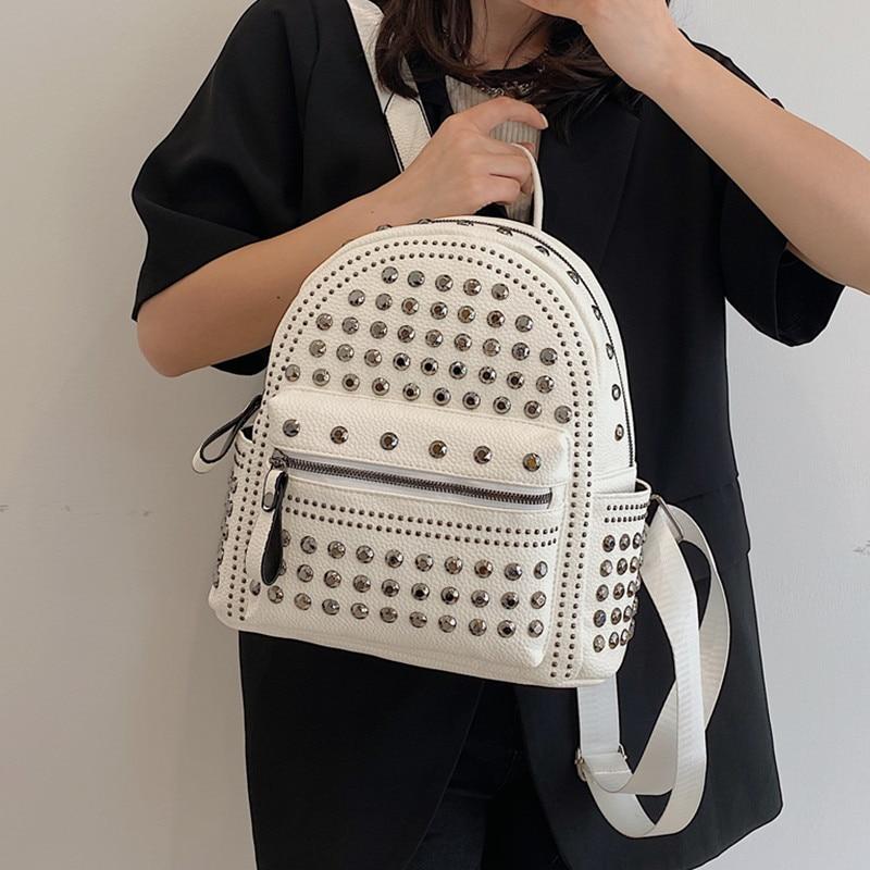 Luxury Rivet Design Women's Backpack High Quality Soft Leather Backpacks for Teenage Girl Travel Rucksack Summer White Backpack