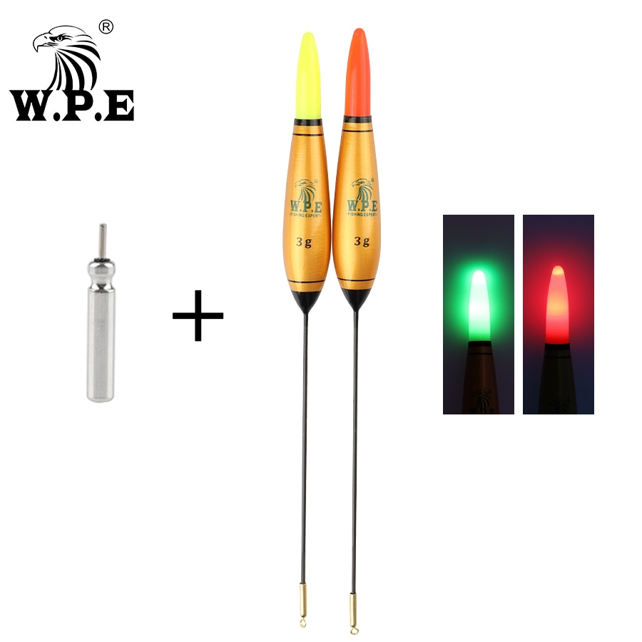 W.P.E 1pcs Smart Led Light Fishing Float + Battery 2g-6g 18cm Night Fishing Buoy Barguzinsky Fir Fishing Tackle Vertical Buoy