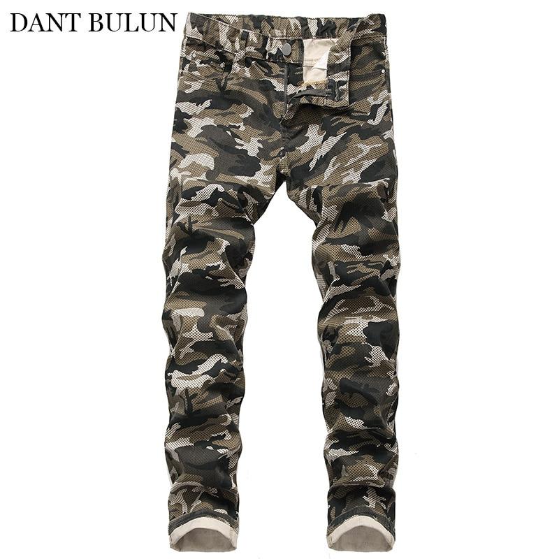 Джинсы мужские с камуфляжным принтом, узкие брюки из денима стрейч, дизайнерские штаны-карго, качественные синие джинсы, мужская одежда