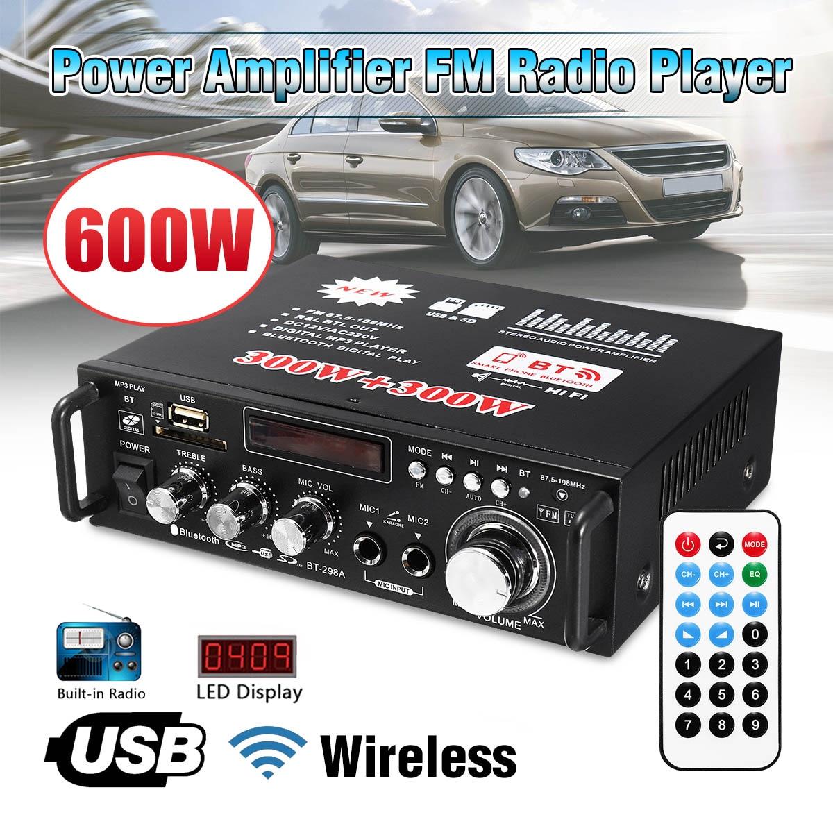 12V/ 220V BT-298A 2CH LCD Display Digital HIFI Audio Stereo Power Amplifier bluetooth FM Radio Car H