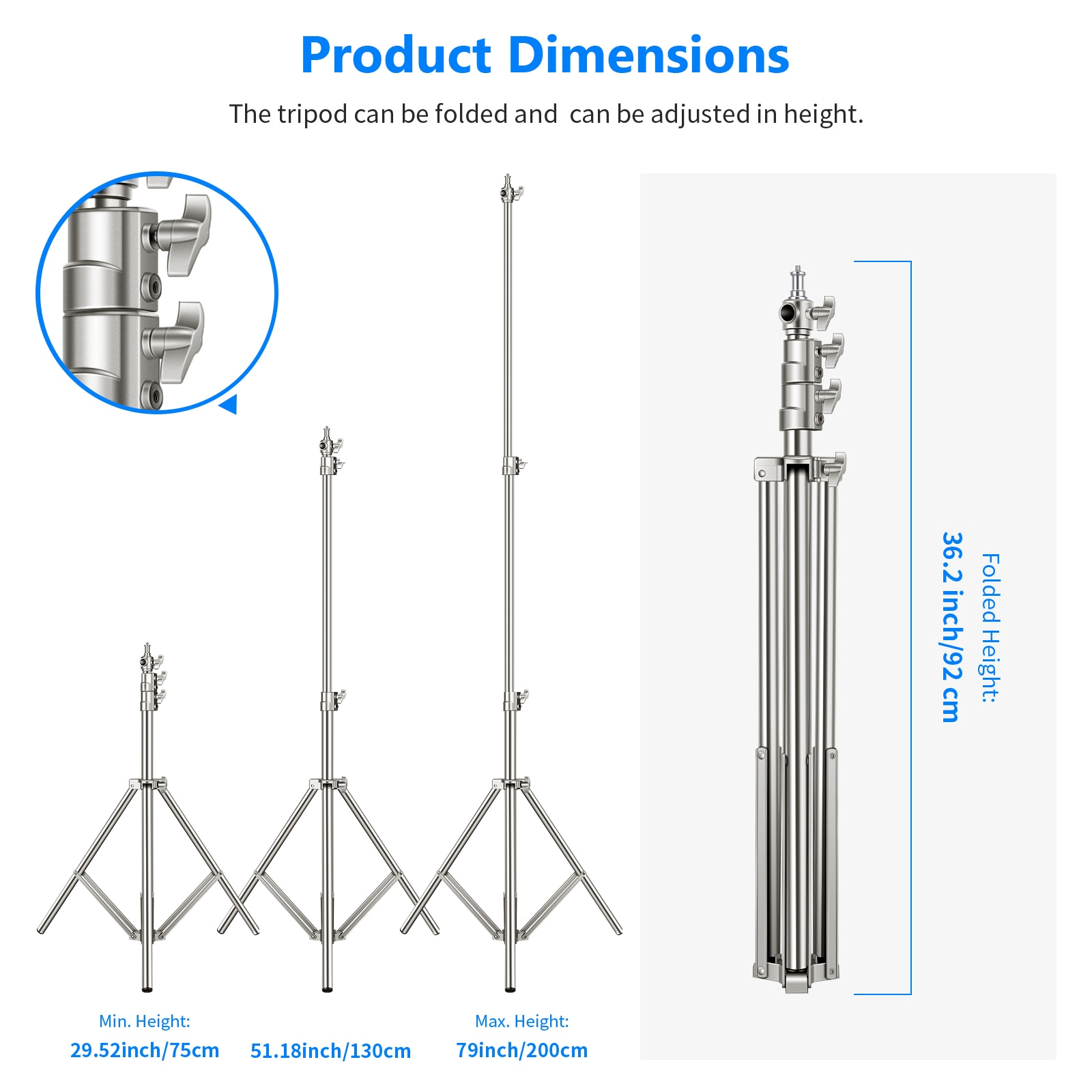 Neewer Stainless Steel Light Stand Silver, 79 inches/200 centimeters Foldable and Portable Heavy Duty Stand for Studio Softbox enlarge