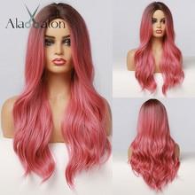 ALAN EATON-Peluca de cabello sintético ondulado para mujer, cabellera artificial largo con degradado, color negro, rosa, rojo y rosa, resistente al calor, para fiesta de Cosplay