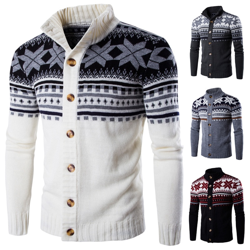Men's ethnic style knitted cardigan hot-selling autumn and winter sweaters European and American men's knitted cardigan