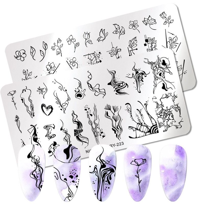 NICOLE DIARY Geometric Line Wave Pattern Stamping Plates Plant Flower Nail Art Image Stamp Stencils Templates Nail Tool недорого