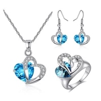 devyes silver color fashion jewelry sets blue cubic zircon statement earring necklace ring sets wedding pendant for women gift