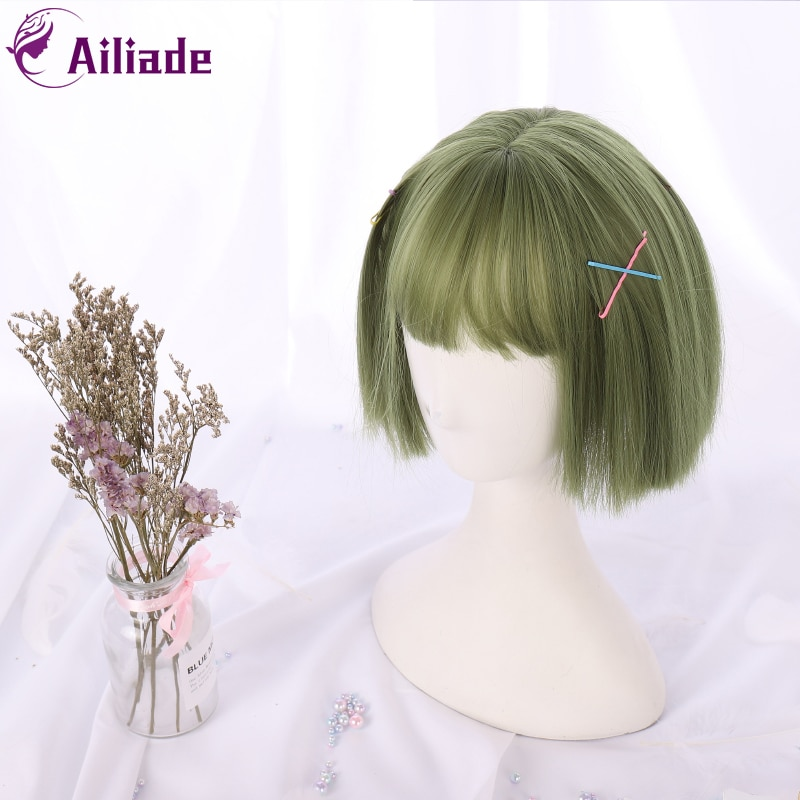 AILIADE 11-inch Synthetic Short Straight Bob Wig with Bang Heat Resistant Green Lolita Anime Cosplay Wigs for Women Daily Hair fashion side bang short straight orange charming kousaka honoka cosplay wig with double chignons