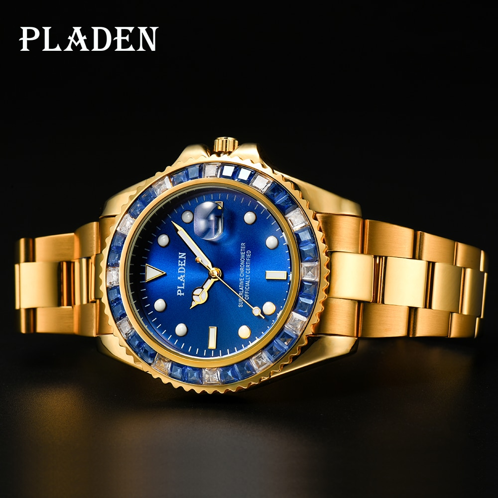 PLADEN 18K Real Gold Men Watch Blue Square Diamond Street Style Sapphire American Saat Auto Date Val