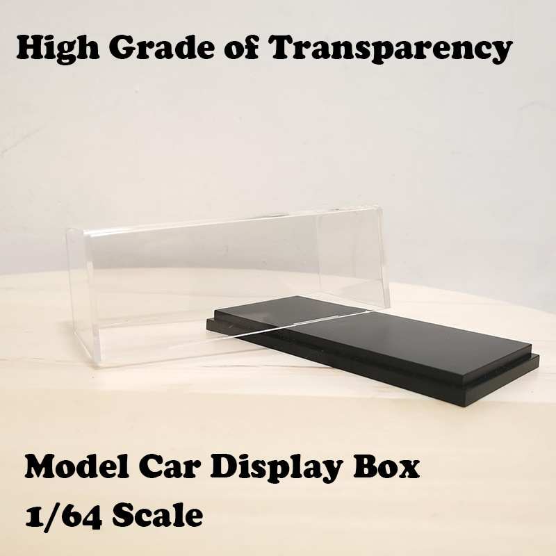 164 modelo de carro acrilico caso transparente a prova de poeira com base preta
