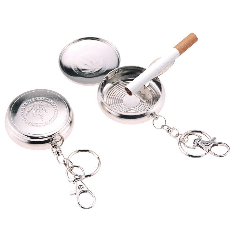 Cenicero de bolsillo con llavero 1 Uds., mini Cenicero portátil de bolsillo para coche, Cenicero de acero inoxidable