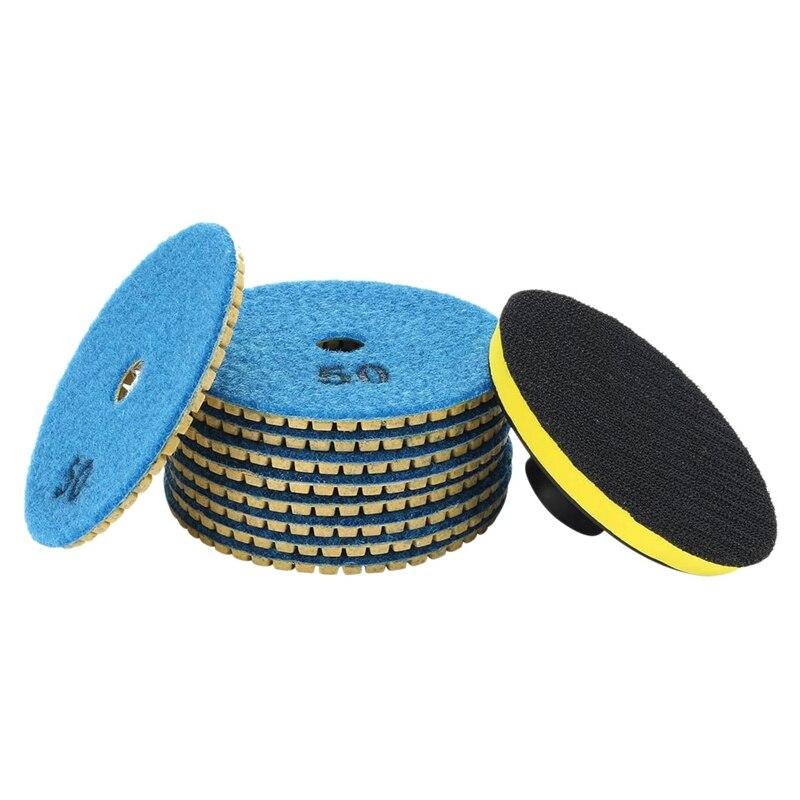 10 Pcs Diamond Polishing Pads Kit 4 Inch 100mm Wet Dry Granite Stone Concrete Marble Polishing Grinding Discs Set