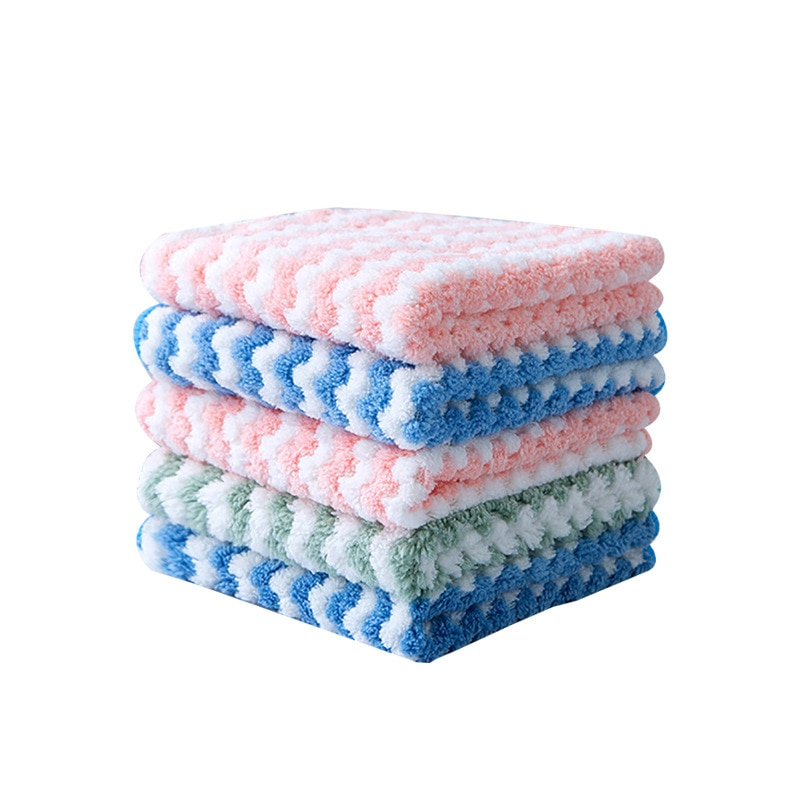 5pcs microfiber cleaning towel super absorbable window glass cleaning cloth kitchen anti grease wiping rags washing dish cloth Kitchen Anti-Grease Wiping Rags Absorbent Microfiber Wipe Cleaning Cloth Home Washing Dish Multifunctional Cleaning Tools