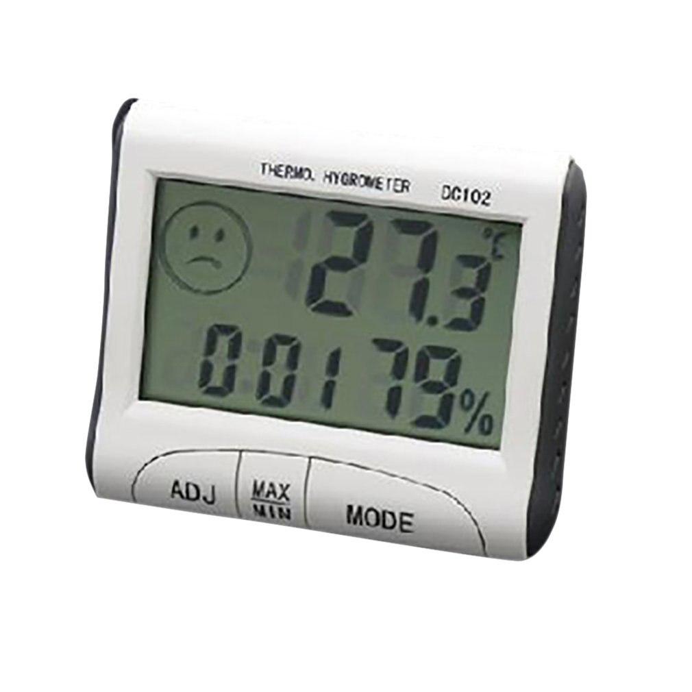 Mini lcd digital indoor termômetro higrômetro medidor de umidade temperatura relógio mesa dc102 com suporte magnético